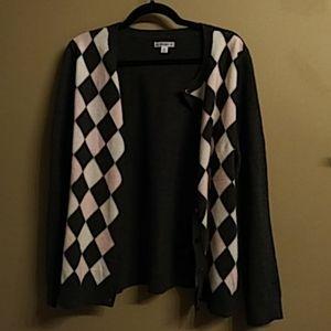 Croft & Barrow Argyle Knit Cardigan Sweater XL 16